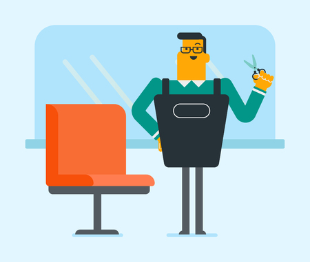 Young caucasian white hair stylist with tools in hand standing near the armchair in beauty saloon. Professional barber standing at workplace in barber shop. Vector cartoon illustration. Square layout.
