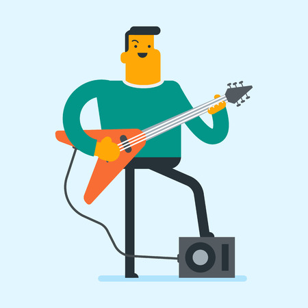 Young caucasian musician playing the electric guitar. Man practicing in playing guitar. Female guitarist with closed eyes playing the electric guitar. Vector cartoon illustration. Square layout. Illustration