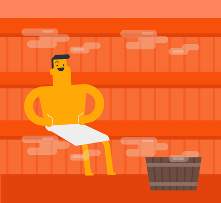 Young caucasian white man relaxing in the sauna. Satisfied man in towel sitting in the sauna and giving thumbs up. Concept of body care and spa treatments. Vector cartoon illustration. Square layout. Stock Illustratie