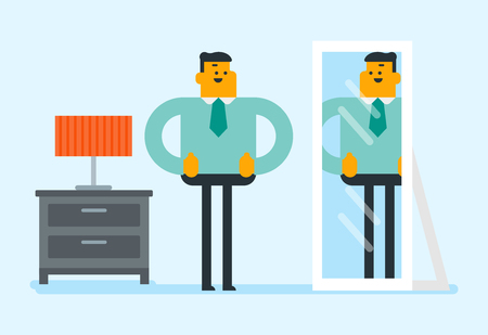 Cheerful caucasian white businessman looking at himself in the mirror and giving thumbs up. Happy man checking his appearance in front of the mirror. Vector cartoon illustration. Horizontal layout.