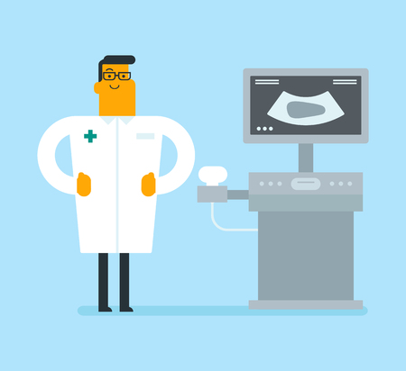 Caucasian white operator of an ultrasound scanning machine analyzing the liver of patient. Young smiling doctor working on a modern ultrasound equipment. Vector cartoon illustration. Square layout.