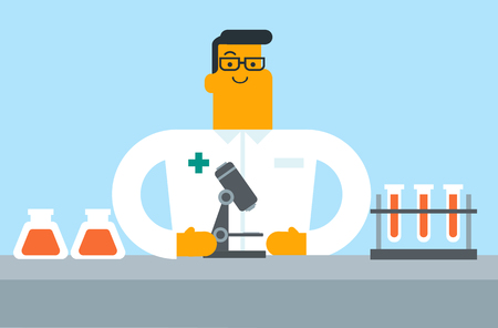 Caucasian white laboratory assistant examining blood samples under a microscope. Young laboratory assistant working in the lab with a microscope. Vector cartoon illustration. Horizontal layout.