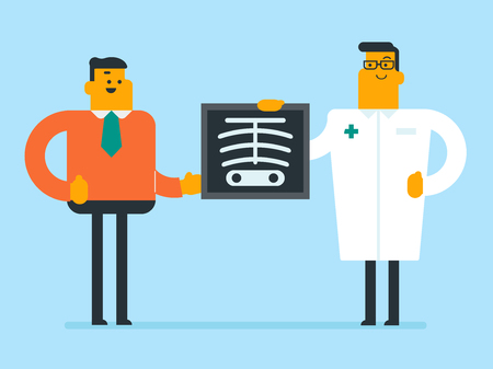 Caucasian white roentgenologist doctor in a medical gown examining a skeleton radiograph and showing it to a young patient in the doctor office. Vector cartoon illustration. Horizontal layout. Illustration