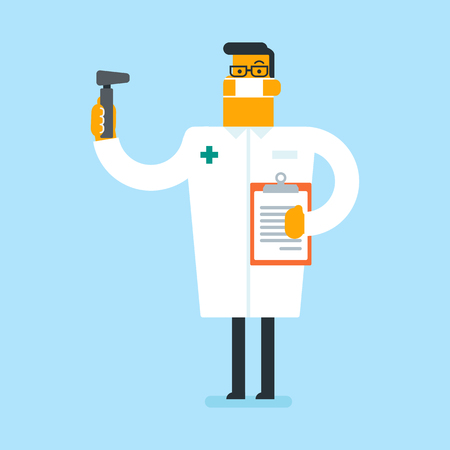 Full length of caucasian white otolaryngologist doctor. Audiologist doctor in medical gown and mask holding tools used for examination of ear, nose, throat. Vector cartoon illustration. Square layout.