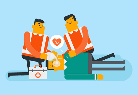 Caucasian white paramedics doing cardiopulmonary resuscitation of a patient. Team of young emergency doctors during process of resuscitation of a man. Vector cartoon illustration. Horizontal layout. 일러스트
