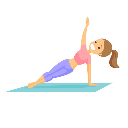 Young caucasian white woman holding side plank for abdominal workout. Cheerful sportswoman doing abdominal exercises on the mat. Vector cartoon illustration isolated on white background. Square layout