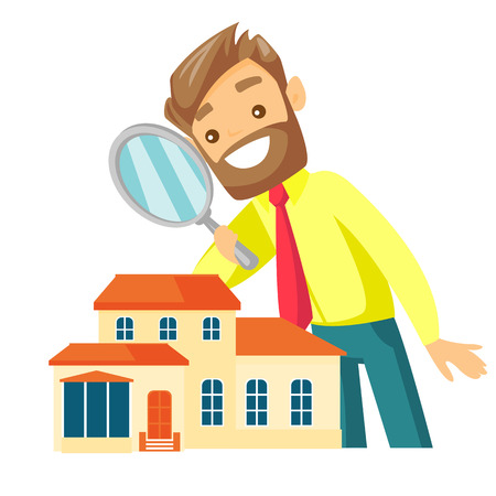 Young caucasian white businessman using a magnifying glass for looking for a new house. Man using a magnifier to check a house. Vector cartoon illustration isolated on white background. Square layout. Illustration