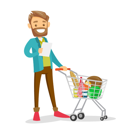 Young Caucasian white man standing next to the shopping cart with products and checking a shopping list in the grocery shop. Vector cartoon illustration isolated on white background. Ilustração