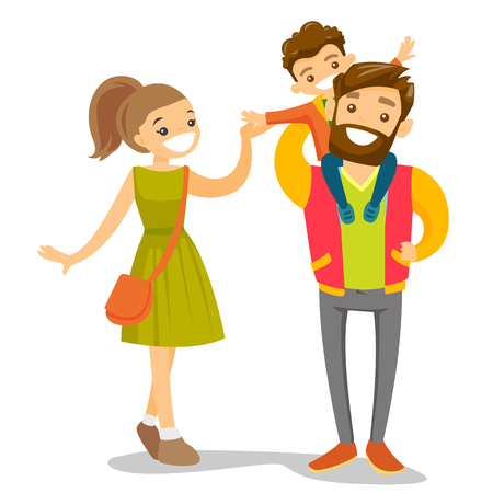 Young happy caucasian white family of three walking and having fun together. Father carrying his daughter on shoulders during family strolling.