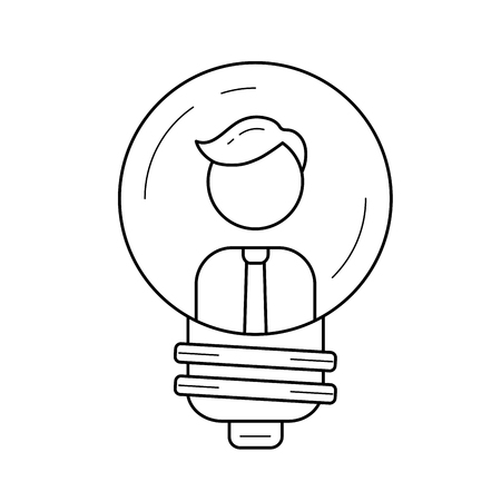 Businessman inside light bulb vector line icon isolated on white background. Creative business person and a light bulb line icon for infographic, website or app. Innovation, idea, imagination concept. Illustration