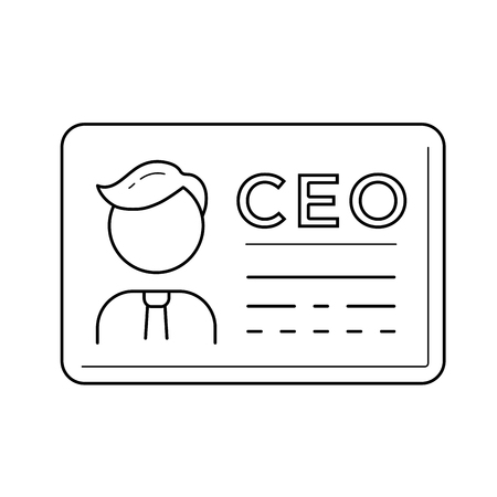 CEO business card vector line icon isolated on white background. Chief executive officer line icon for infographic, website or app.