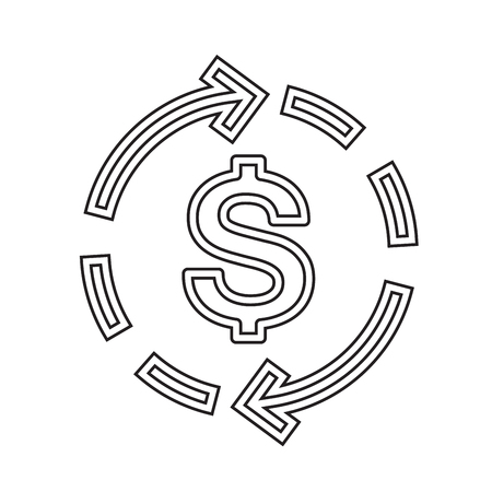Dollar symbol vector line icon isolated on white background. Two arrows circulate around dollar sign line icon for infographic, website or app. Money and currency exchange concept.
