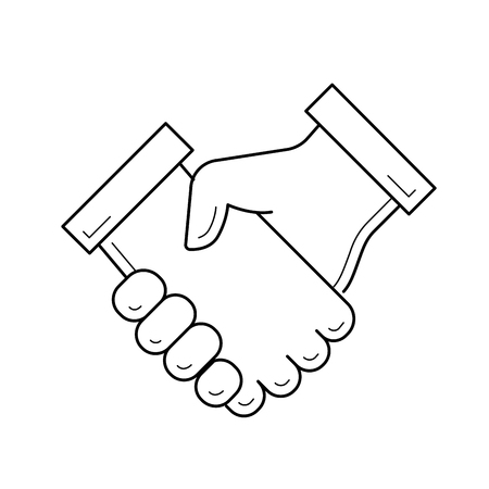 Handshake vector line icon isolated on white background. Conclusion of business deal by hand shake line icon for infographic, website or app. Business team and cooperation concept. 일러스트