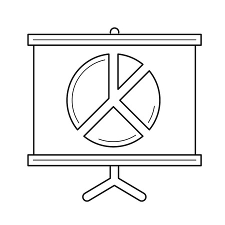 Projector for business presentation and conference vector line icon isolated on white background. Billboard line icon for infographics, website or app. 向量圖像
