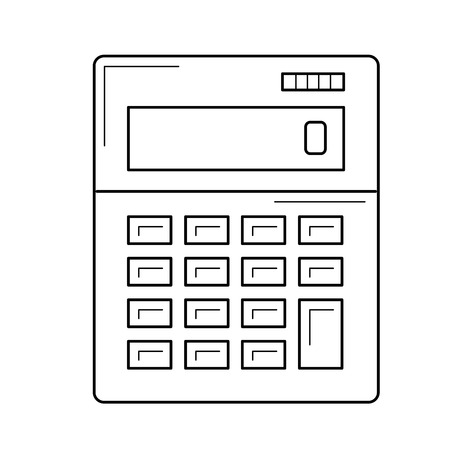 Calculator line icon isolated on white background. Vector line icon of accounting calculator for infographic, website or app.