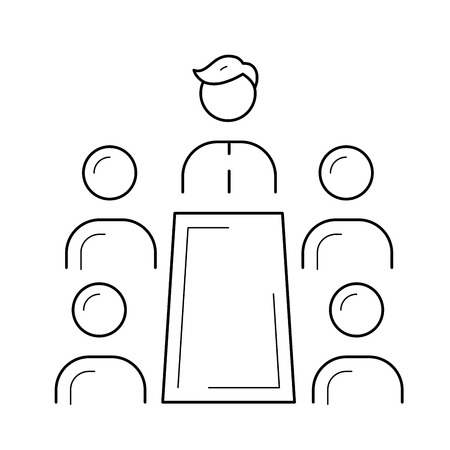 People at meeting vector line icon isolated on white background. Business people sitting at the table at discussion seminar line icon for infographic, website or app.