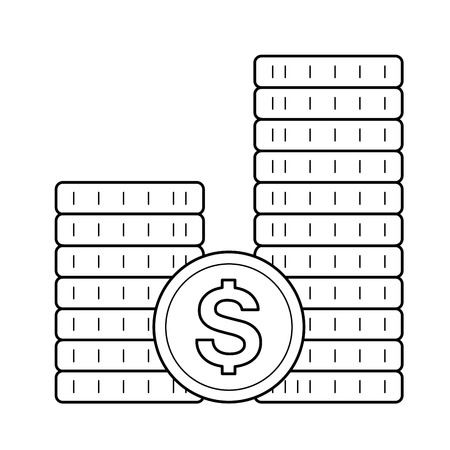 Stack of coins, vector line icon isolated on white background.
