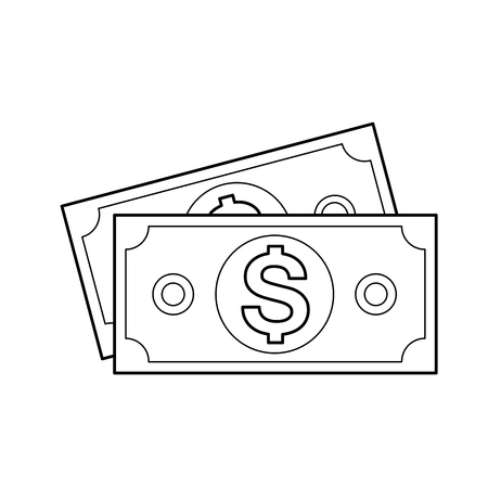 Money banknotes, vector line icon isolated on white background.