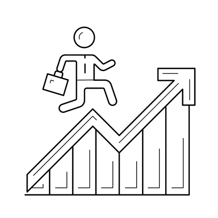 Man running up the career ladder, vector line icon isolated on white background.