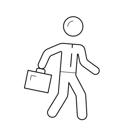 Man walking with briefcase, vector line icon isolated on white background.