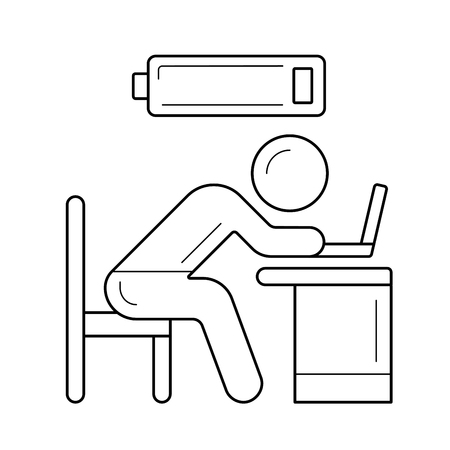 Tired worker with low battery, vector line icon isolated on white background. Hard working tired man line icon for infographic, website or app. Out of power, burnout concept. Ilustração
