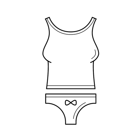 Womens underwear vector line icon isolated on white background. Line icon of woman tank top and thong panties for infographic, website or app.