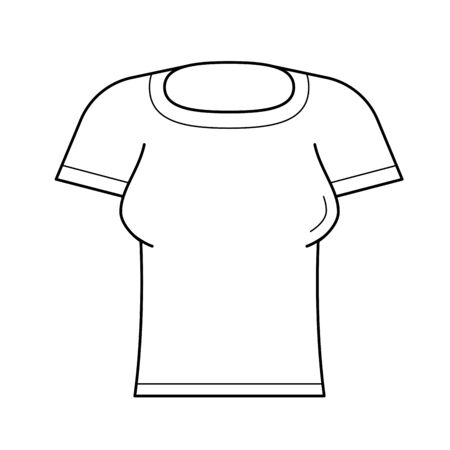 Woman tight t-shirt line icon isolated on white background. Vector line icon of female clothes t-shirt for infographic, website or app. Фото со стока - 97441964