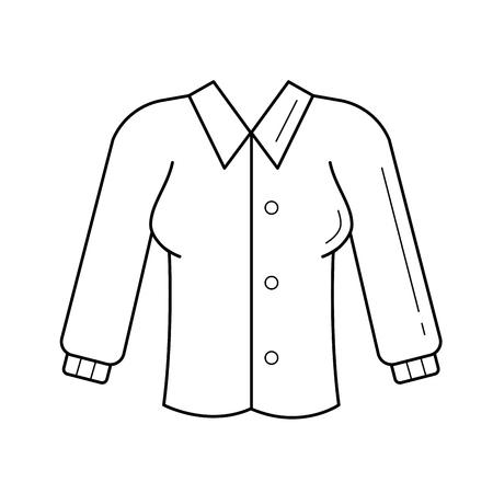 블라우스 벡터 라인 아이콘 흰색 배경에 고립입니다. Infographic, 웹 사이트 또는 응용 프로그램에 대한 공식 스타일 라인 아이콘의 여자 블라우스. 일러스트