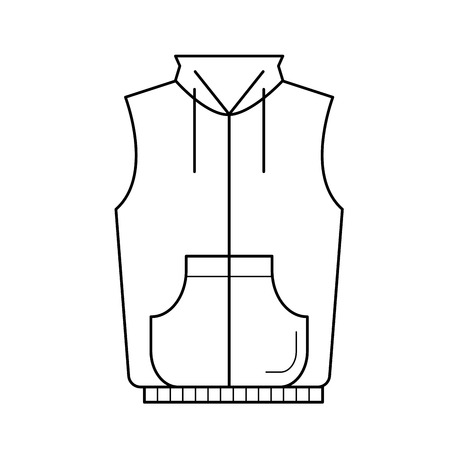 Vest jacket, vector line icon isolated on white background.