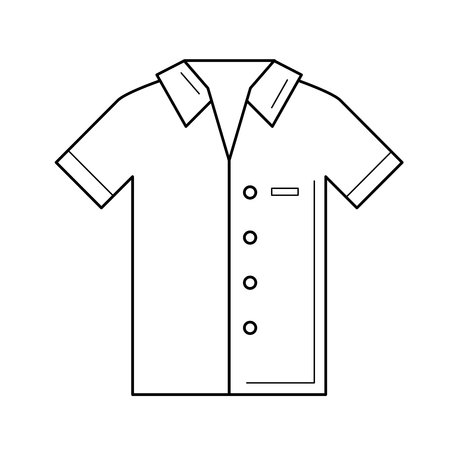 Polo shirt vector line icon isolated on white background. Short-sleeve polo shirt line icon for infographic, website or app.