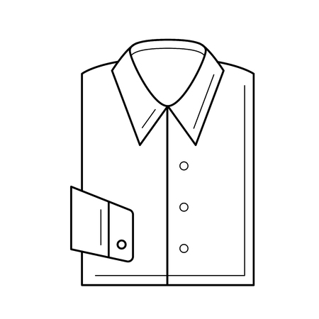 Folded shirt vector line icon isolated on white background. New packed shirt for man line icon for infographic, website or app.
