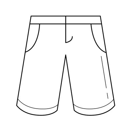 Bermuda shorts vector lijn pictogram geïsoleerd op een witte achtergrond. Stock Illustratie