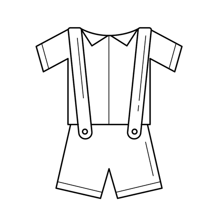 Baby shirt and shorts with suspenders line icon. 向量圖像