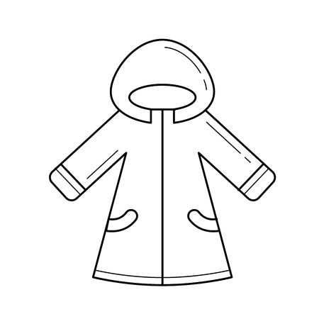Winter fur coat for baby line icon. Stock Illustratie