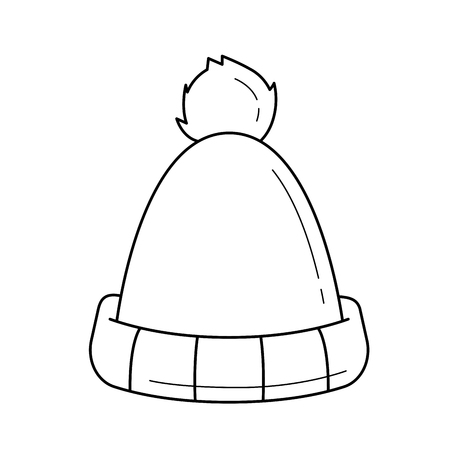 Winter hat line icon isolated on white background.
