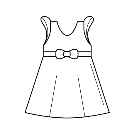 Little girl dress vector line icon isolated on white background. Baby dress with bow line icon for infographic, website or app. Illustration
