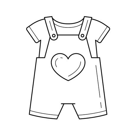 Icono de línea de vector de mameluco de bebé aislado sobre fondo blanco.