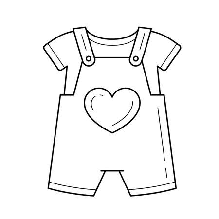 Baby romper vector line icon isolated on white background.