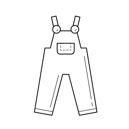 Icona della linea generale del denim isolata su fondo bianco.