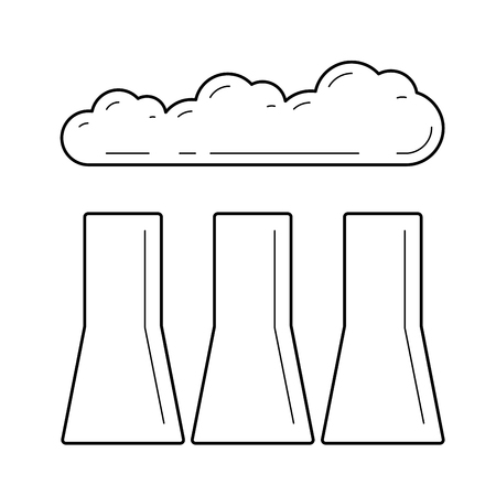 Factory vector line icon isolated on white background. Water cooling towers of industrial factory line icon for infographic, website or app.