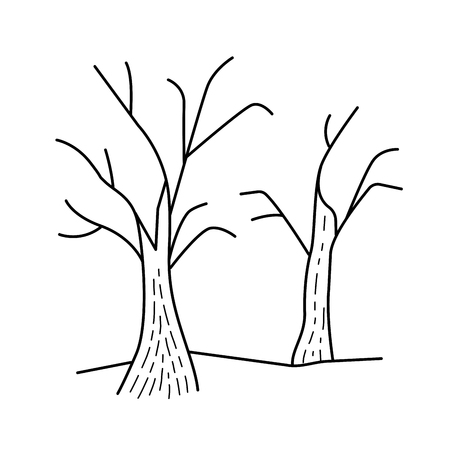 Dry trees vector line icon isolated on white background. Global warming line icon with dry tree for infographic, website or app. Deforestation and global warming concept. Reklamní fotografie - 97281921