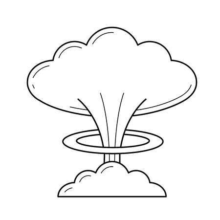 Nuclear explosion vector line icon isolated on white background. Mushroom cloud of explosion of nuclear bomb line icon for infographic, website or app.