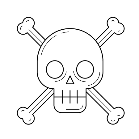 Danger sign vector line icon isolated on white background. Skull and crossbones - the sign of the danger warning line icon for infographic, website or app. Illustration