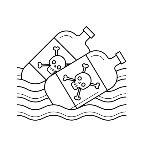 Sea pollution vector line icon isolated on white background. Bottles with danger sign floating in water line icon for infographic, website or app. Water and sea pollution concept.