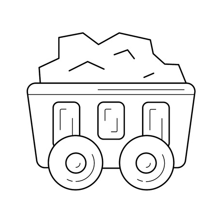 Mining cart vector line icon isolated on white background. Coal in the mining cart line icon for infographic, website or app. Illustration