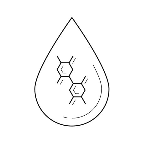 Lubricant drop line icon isolated on white background. Vector line icon of lubricant drop with molecule inside for infographic, website or app.