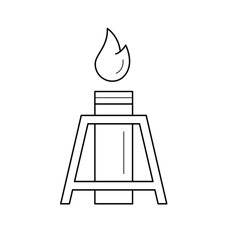 Oil well with flames vector line icon isolated on white background. Industrial machine for petroleum - oil rig gusher line icon for infographic, website or app.
