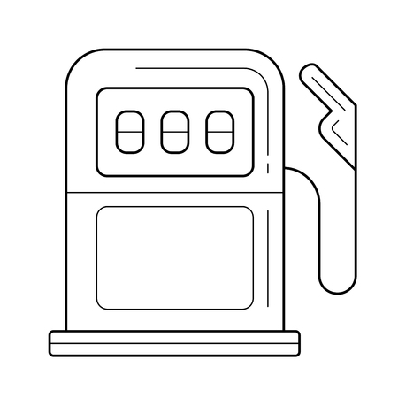 Gas petrol station vector line icon isolated on white background. Gasoline column - equipment for gas station line icon for infographic, website or app.