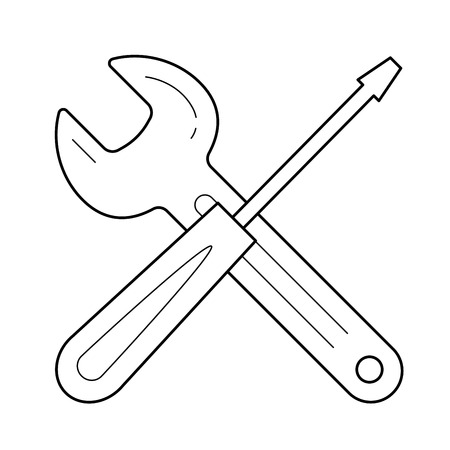 Repair service vector line icon isolated on white background. Screwdriver and wrench concept of repair service line icon for infographic, website or app.  イラスト・ベクター素材