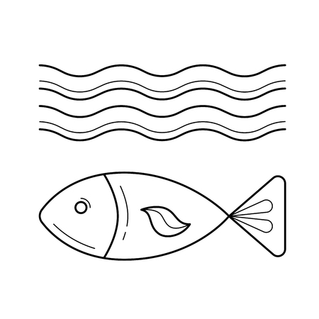 Fish under sea wave vector line icon isolated on white background. Small fish in water line icon for infographic, website or app.